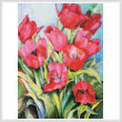 cross stitch pattern Red Tulips