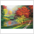 cross stitch pattern Red Trees in Autumn (Large)
