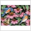 cross stitch pattern Bluebirds and Coneflowers