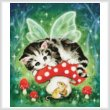 cross stitch pattern Mini Kitten Fairy on Mushroom