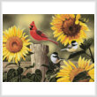 cross stitch pattern Sunflowers and Songbirds