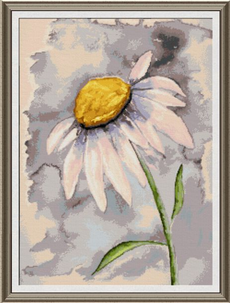 cross stitch pattern Daisy Watercolor