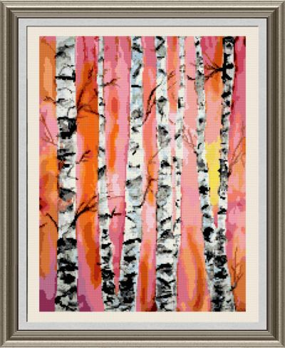 cross stitch pattern Birch Trees