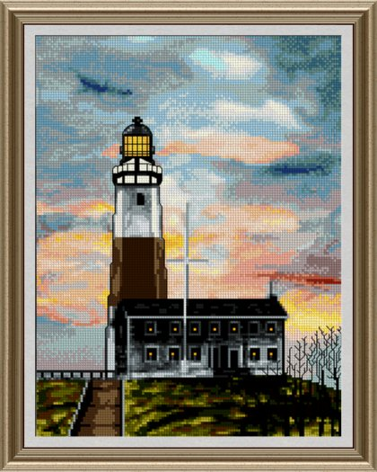 cross stitch pattern Montauk Point Lighthouse
