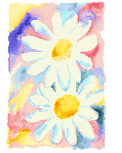 cross stitch pattern Daisies Watercolor