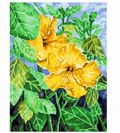 cross stitch pattern Yellow Hibiscus