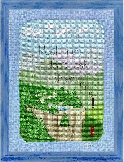 cross stitch pattern Real Men Don't Ask Directions