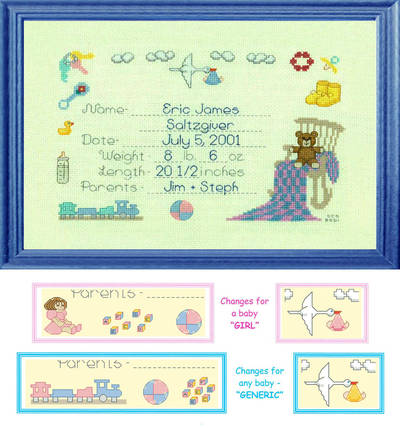 cross stitch pattern 3 Variations Baby Announcement