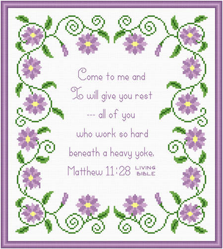 cross stitch pattern Come to Me for Rest