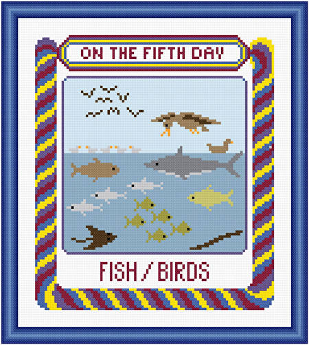cross stitch pattern On The Fifth Day