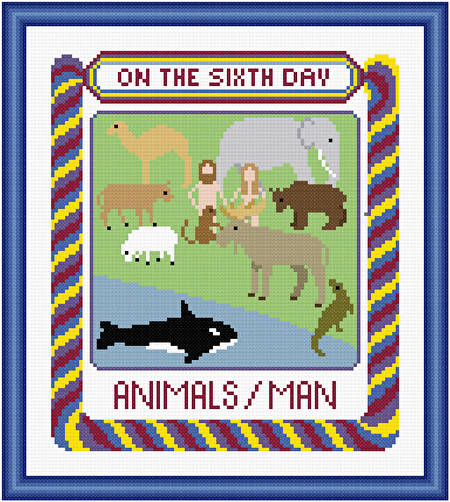 cross stitch pattern On The Sixth Day