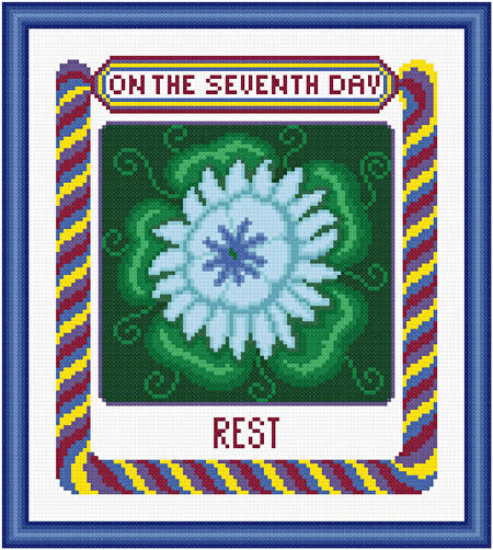cross stitch pattern On The Seventh Day