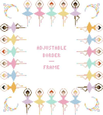 cross stitch pattern Ballerinas Border/Frame - Adjustable