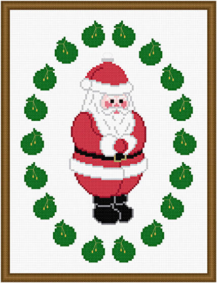 cross stitch pattern The Big Guy - Santa Ornament