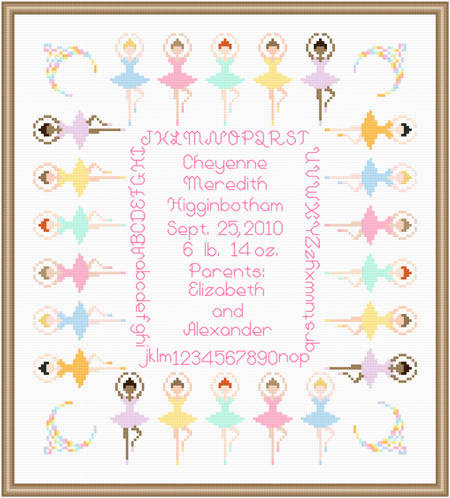 cross stitch pattern Ballerinas Baby Sampler