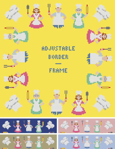 cross stitch pattern Chefs Border/Frame - Adjustable