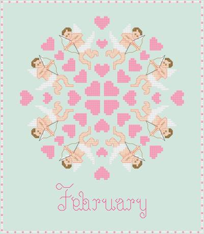 cross stitch pattern February - Cupids and Hearts