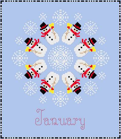 cross stitch pattern January - Snowmen   Snowflakes