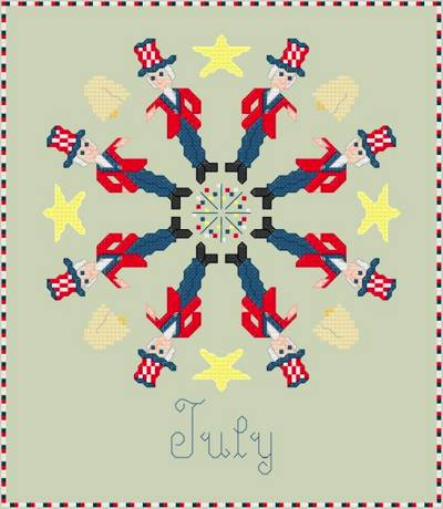 cross stitch pattern July - Patriotic Symbols