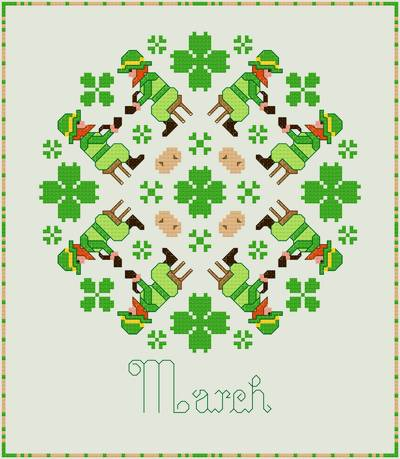 cross stitch pattern March - Leprechauns and Shamrocks