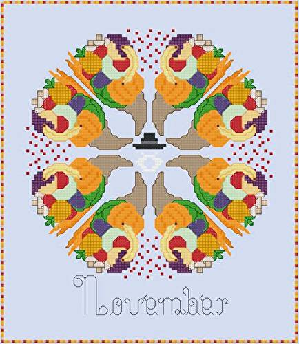 cross stitch pattern November - Cornucopias of Foods