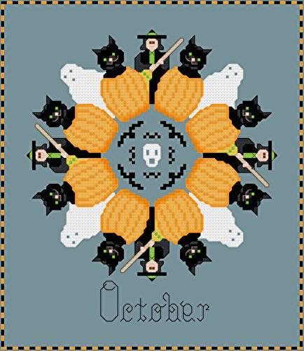 cross stitch pattern October - Halloween Symbols
