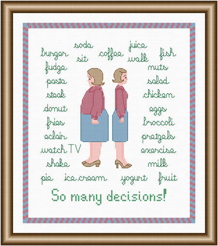 cross stitch pattern So Many Decisions - Women