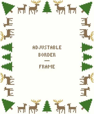 cross stitch pattern Deer/Evergreens Border/Frame - Adjust.