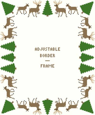 cross stitch pattern Deer/Evergreens-Deluxe Border- Adj.