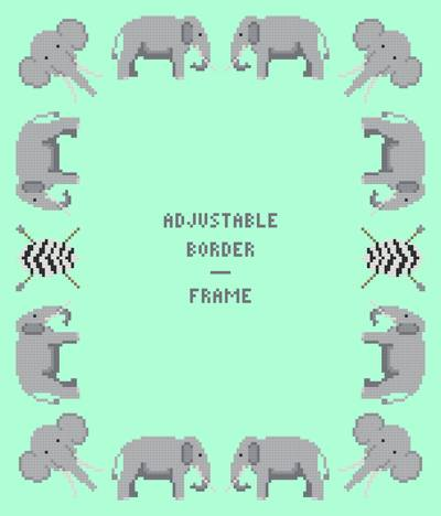 Elephant Border/Frame - Adjustable Cross Stitch Pattern borders