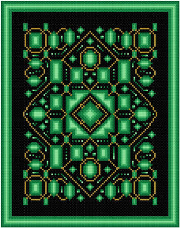 cross stitch pattern Emeralds and Gold