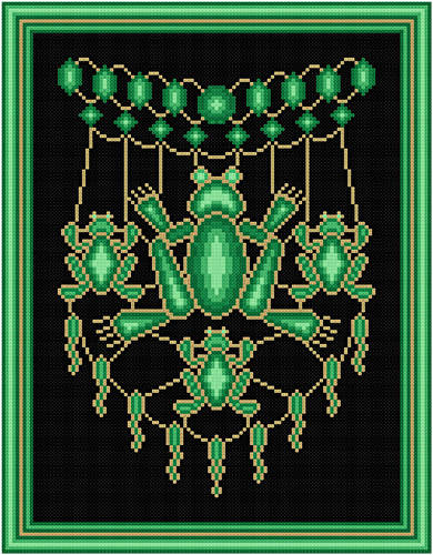 cross stitch pattern Jeweled Frogs