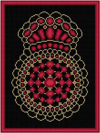 cross stitch pattern Garnet and Gold