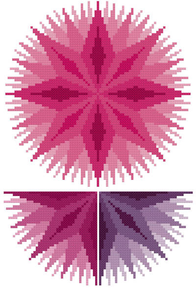 cross stitch pattern Infinite - Pink, Plum, Purple
