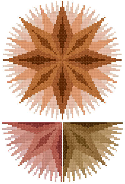 cross stitch pattern Infinite - Rust, Auburn, Brown
