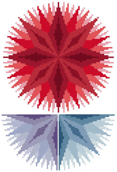 cross stitch pattern Infinite - Red, Violet, Blue