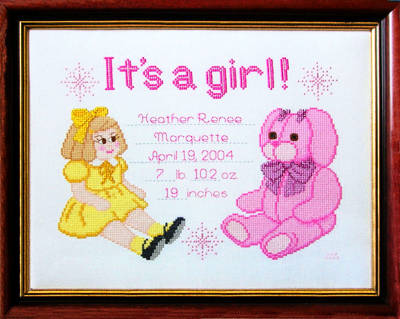 cross stitch pattern It's A Girl!