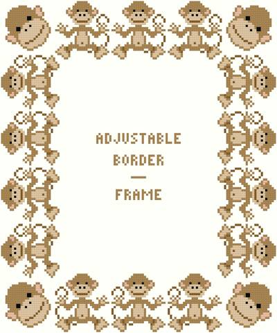 cross stitch pattern Monkey Border/Frame - Adjustable