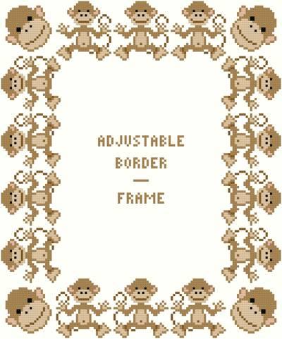 Monkey Border/Frame - Adjustable Cross Stitch Pattern wild