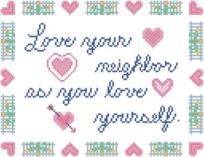 cross stitch pattern Love Your Neighbor
