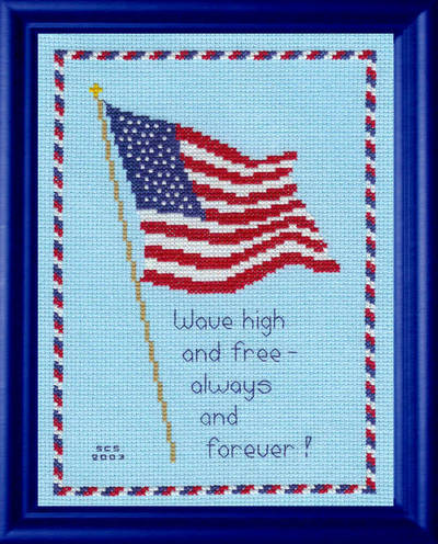 cross stitch pattern Patriotic Flag