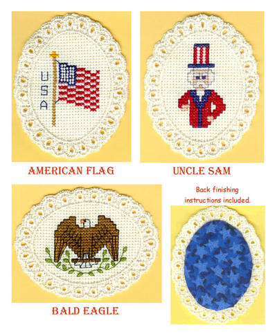 cross stitch pattern Patriotic Trio