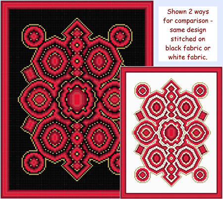 cross stitch pattern Rubies and Gold