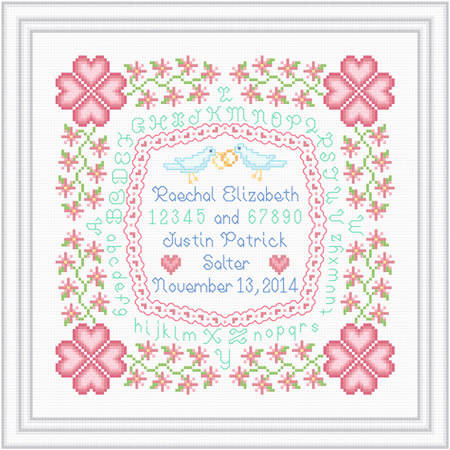 cross stitch pattern WithThis Ring Sampler