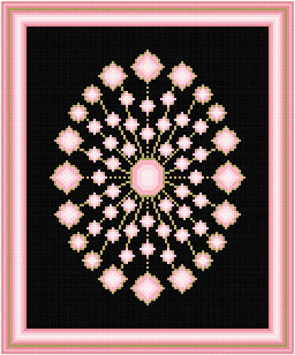 cross stitch pattern Rose Quartz and Gold
