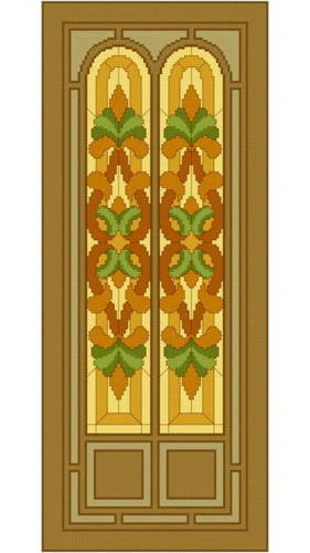 cross stitch pattern Stained Glass Door