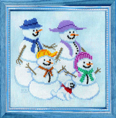 cross stitch pattern Snow Family Portrait