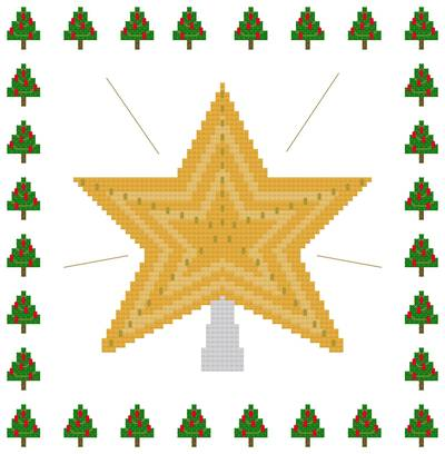 cross stitch pattern Shining Star Christmas Tree Topper