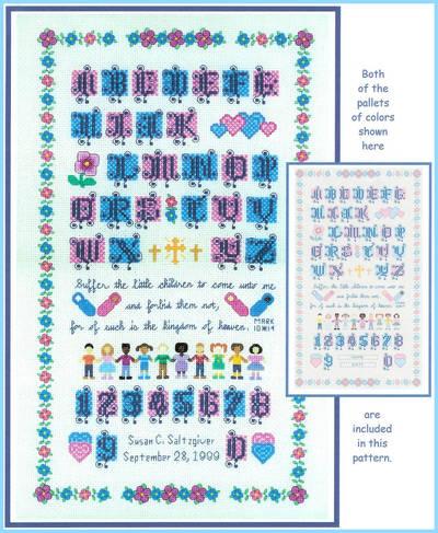 cross stitch pattern Suffer the Children Sampler