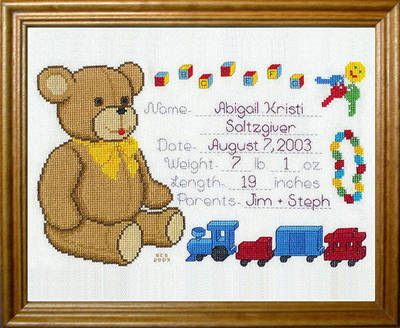 Teddy Bear Baby Announcement Cross Stitch Pattern Birthday